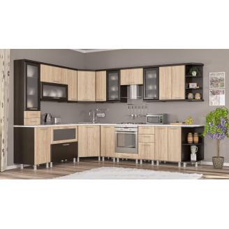 Кухня Тера плюс 2,0 м со столешницей венге темный+береза Мебель-Сервис