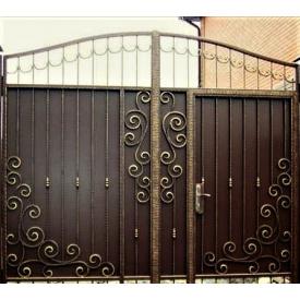 Ворота кованые с профнастилом и калиткой Б0041пф Legran
