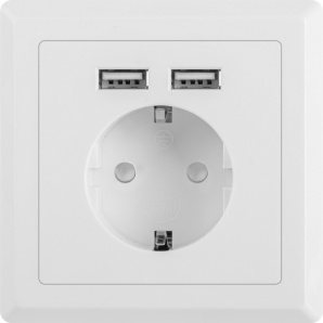 Розетка Lanberg Schuko Socket 2 USB Port 2.1A Белая (AC-WS01-USB2-F)