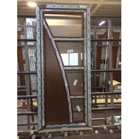 Двери межкомнатные коричневые с дизайном, профиль WDS Ultra 7, 800х2000 мм