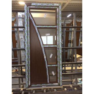 Двері міжкімнатні коричневі з дизайном, профіль WDS Ultra 7, 800х2000 мм