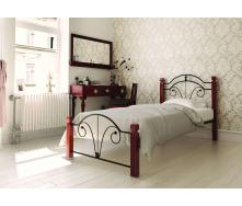 Ліжко металеве Діана на дерев'яних ногах 90 Метал дизайн