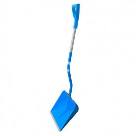 Лопата снігоприбиральна в зборі BudMonster Profi пластикова 400х400 мм з алюмінієвим наконечником і ручкою синя BudMonster