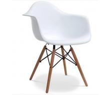 Крісло Тауер Вуд сидіння пластик білий ніжки дерев`яні