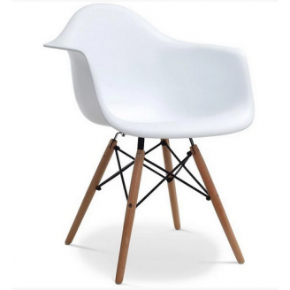 Кресло Тауэр Вуд сидение пластик белый ножки деревянные