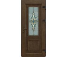 Металопластикові фасадні двері m-1 242 1200х2050 мм Золотий дуб