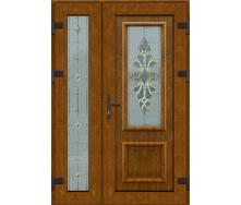 Металопластикові фасадні двері m-1210 1200х2050 мм Золотий дуб
