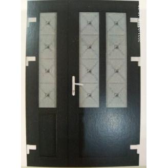 Металопластикові фасадні двері m-1211 1200х2050 мм Дуб Шеффілд