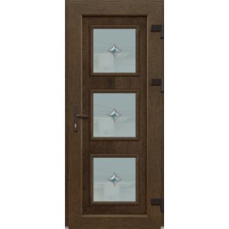 Металопластикові фасадні двері m-1262 1200х2050 мм Золотий дуб