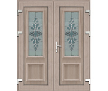 Металопластикові фасадні двері m-тисяча двісті вісімдесят одна 900х2050 мм Горіх