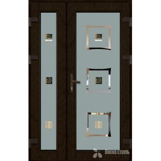 Металопластикові фасадні двері m-одна тисяча сто вісімдесят шість 1200х2050 мм Золотий дуб