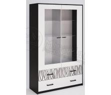 Сервант Терра 2Д без подсветки белый глянец + черный мат Миро-Марк