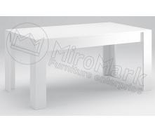 Стіл обідній Віола 160х95 білий глянець + чорний мат Миро-Марк