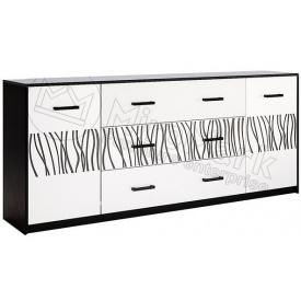 Комод Терра 2.0м 2Д 3Ш білий глянець + чорний мат Миро-Марк