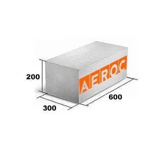Газобетонний блок Aeroc D-500 300x200x600 мм гладкий