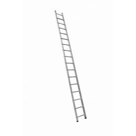 Алюминиевая односекционная приставная усиленная лестница на 17 ступеней (полупрофессиональная)