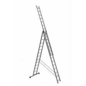 Лестница алюминиевая трехсекционная универсальная 3 х 14 ступеней