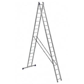 Лестница алюминиевая двухсекционная универсальная (усиленная) 2 х 17 ступеней