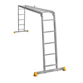 Лестница трансформер алюминиевая профессиональная четырехсекционная 4 x 5 ступеней