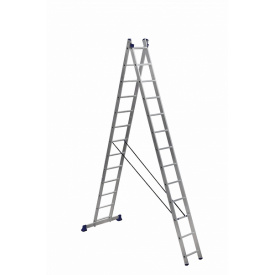 Лестница алюминиевая двухсекционная универсальная 2 на 13 ступеней