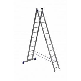 Лестница алюминиевая двухсекционная 2 х 11 ступеней (универсальная)
