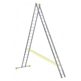 Лестница алюминиевая профессиональная двухсекционная 2 на 20 ступеней