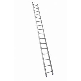 Алюминиевая односекционная приставная усиленная лестница на 16 ступеней (полупрофессиональная)