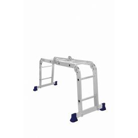 Алюминиевая четырехсекционная шарнирная лестница трансформер 4 х 2 ступени