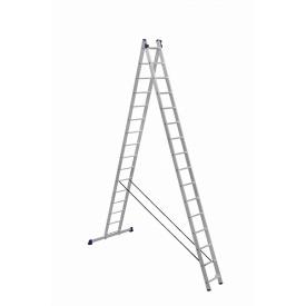 Лестница алюминиевая двухсекционная универсальная (усиленная) 2 х 15 ступеней