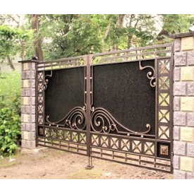 Ворота кованые с профнастилом Б0029пн Legran