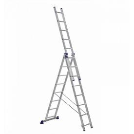 Алюминиевая трехсекционная лестница 3 х 8 ступеней (универсальная)