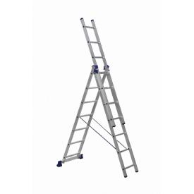 Трехсекционная алюминиевая лестница 3x7 ступеней (универсальная)