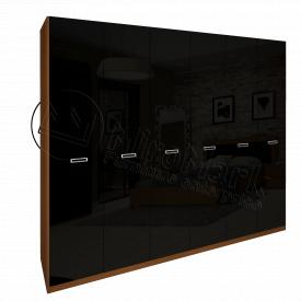 Шафа Белла 6Д без дзеркал чорний глянець + вишня бюзум Миро-Марк