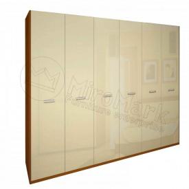 Шафа Белла 6Д без дзеркал ваніль глянець + вишня бюзум Миро-Марк