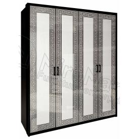 Шафа Віола 4Д без дзеркал білий глянець + чорний мат Миро-Марк