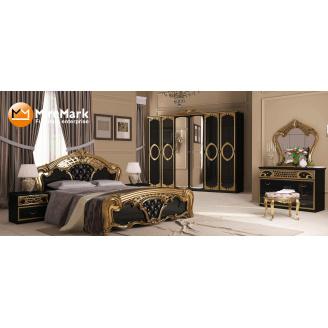 Спальня Реджина Черная 6Д черный глянец + золото Миро-Марк