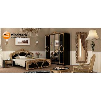 Спальня Реджина Черная 4Д черный глянец + золото Миро-Марк