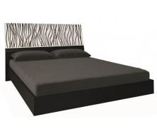 кровать Терра 180 с подъемным механизмом белый глянец + черный мат с каркасом Миро-Марк