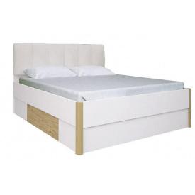 Кровать Флоренция 180 мягкая спинка дуб Сан Марино + белый глянец без каркаса Миро-Марк
