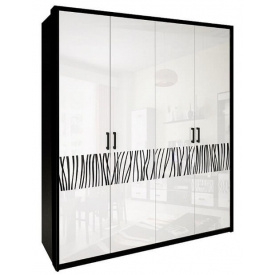 Шкаф Терра 4Д без зеркал белый глянец + черный мат Миро-Марк