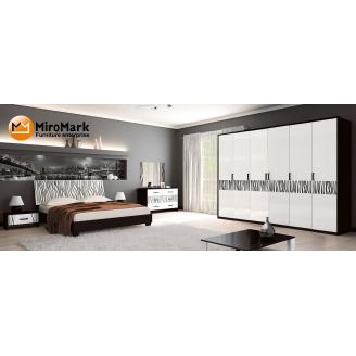 Спальня Терра 6Д білий глянець + чорний мат Миро-Марк