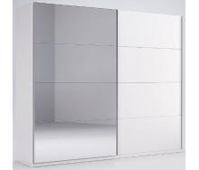 Шкаф-купе Фемели 2,5 белый глянец с зеркалом Миро-Марк
