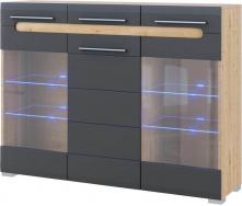 Комод Бьянко витрина 3Д дуб артизан + графит Мир мебели