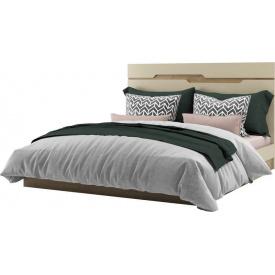 Ліжко двоспальне Смарт 160 дуб Артізан + крем Світ меблів