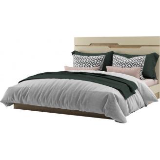 Кровать двуспальная Смарт 160 дуб артизан + крем Мир мебели