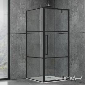 Душевая кабина Dusel DL198BP+DL196BP Black Matt Paint 90x90x190 профиль черный/стекло прозрачное