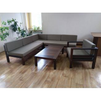Комплект садових меблів МАСТЕРОК термоясень 2 крісла+диван+столик для тераси і басейну