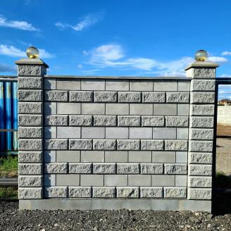 Блок декоративний з фаскою сірий 390х190х190 мм