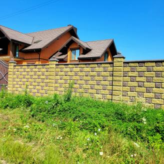 Блок декоративний рваний камінь для стовпа 300х400 мм жовтий
