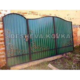 Роспашные кованые ворота с профнастилом и калиткой Код: А-01192 ДЕШЕВА КОВКА